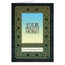 Green Celtic Knotwork Photo Frame Greeting Card