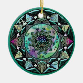 Green Celtic Mandala Mystical Holiday Ornament