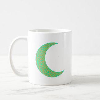 Green Celtic Moon mug (left)