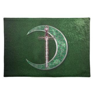Green Celtic Moon Place Mats