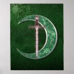 Green Celtic Moon Poster