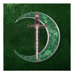 Green Celtic Moon Poster