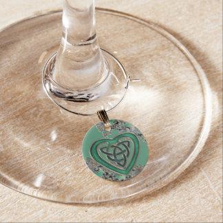 Green Celtic Mystical Fractal Wine Charms