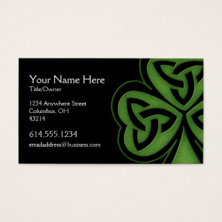 Green Celtic Shamrock Design 1 Irish Business Card