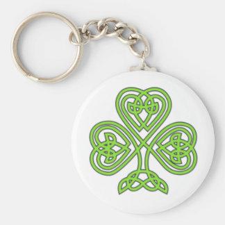 Green Celtic Shamrock Keychain
