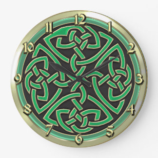 Green Celtic Shield Knot Round Wall Clock