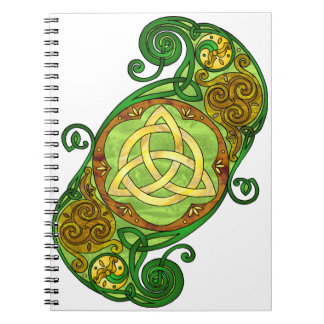 Green Celtic Spiral Trinity Knot Spiral Notebook