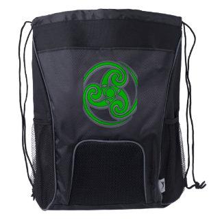 Green Celtic symbol on drawstring backpack