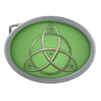 Green Celtic Trinity Knot Oval Belt Buckle