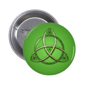 Green Celtic Trinity Knot Button