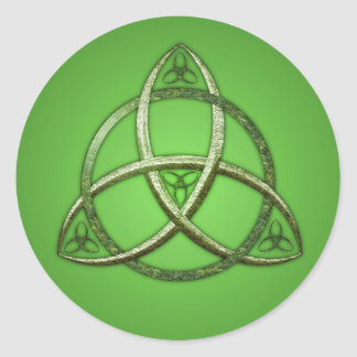 Green Celtic Trinity Knot Classic Round Sticker