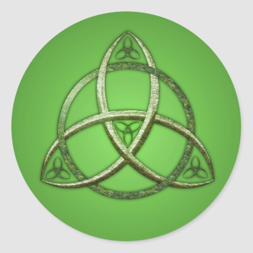 Green Celtic Trinity Knot Classic Round Sticker
