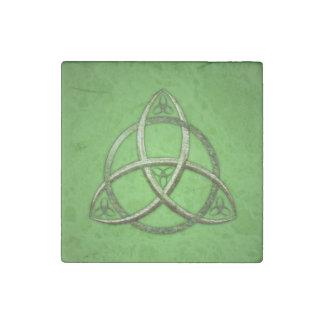 Green Celtic Trinity Knot Stone Magnet