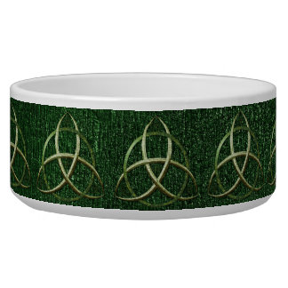 Green Celtic Trinity Knot Dog Water Bowls