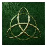Green Celtic Trinity Knot Poster