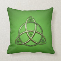 Green Celtic Trinity Knot Throw Pillow
