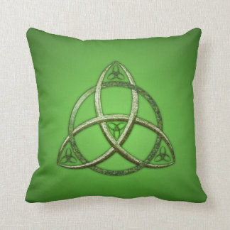Green Celtic Trinity Knot Throw Pillow