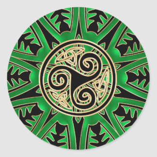 Green Celtic Triskele Mandala Sticker