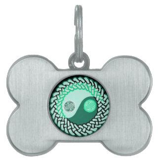 Green Celtic Yin Yang Bone Shape Custom Dog Tag