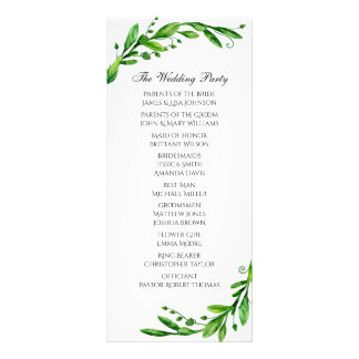 Green ceremony program. Garden wedding. Greenery Rack Card