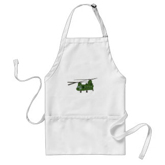 Green CH-47 Chinook Military Helicopter Adult Apron