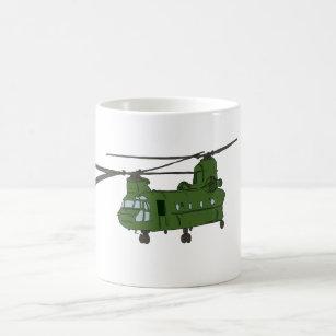Green CH-47 Chinook Military Helicopter Coffee Mug