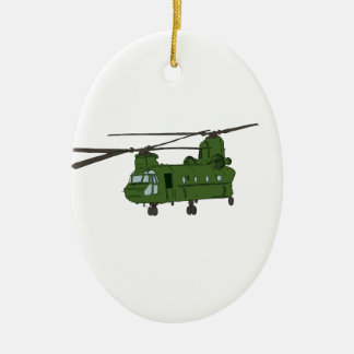 Green CH-47 Chinook Military Helicopter Double-Sided Oval Ceramic Christmas Ornament
