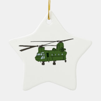 Green CH-47 Chinook Military Helicopter Double-Sided Star Ceramic Christmas Ornament