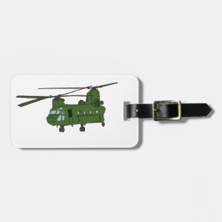 Green CH-47 Chinook Military Helicopter Luggage Tags