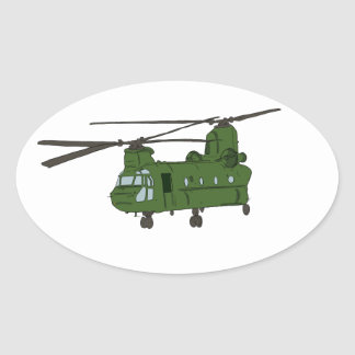 Green CH-47 Chinook Military Helicopter Oval Sticker