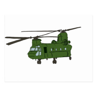 Green CH-47 Chinook Military Helicopter Postcard