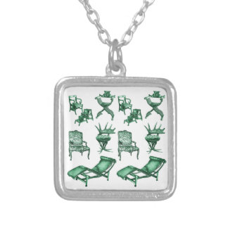 Green chairs square pendant necklace