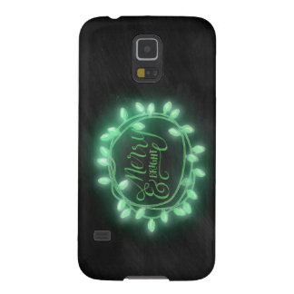 Green Chalk Drawn Merry and Bright Holiday Case For Galaxy S5