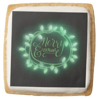 Green Chalk Drawn Merry and Bright Holiday Square Shortbread Cookie