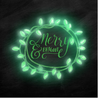 Green Chalk Drawn Merry and Bright Holiday Statuette