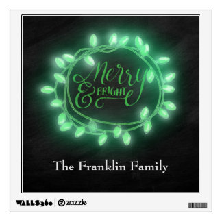 Green Chalk Drawn Merry and Bright Holiday Wall Sticker