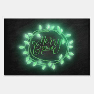 Green Chalk Drawn Merry and Bright Holiday Yard Sign