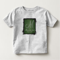 Green  Chalkboard 3d Monogram Toddler T-shirt