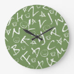 Green Chalkboard & Alphabet Design Wallclocks