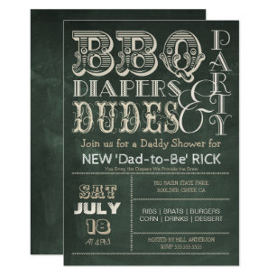 Daddy shower invitations zazzle green chalkboard bbq diapers dudes baby shower invitation filmwisefo