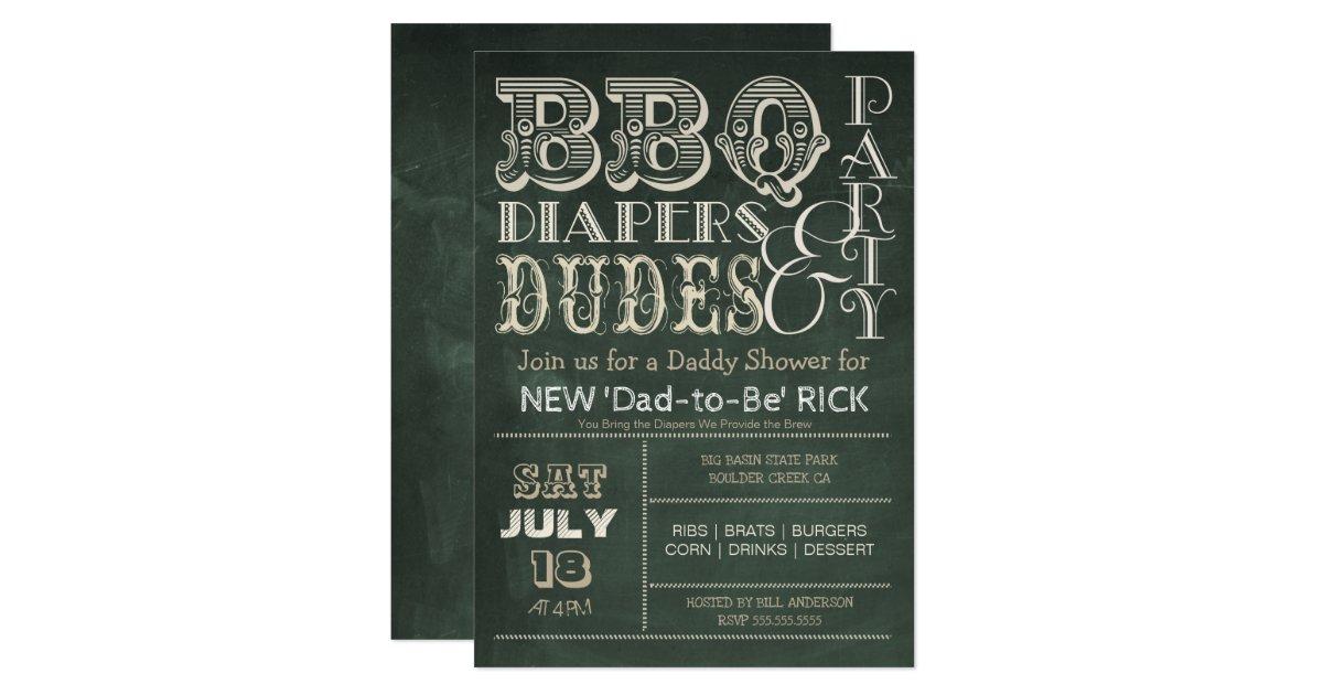 Green Chalkboard BBQ Diapers & DUDES Baby Shower Invitation | Zazzle.com