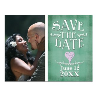 Green chalkboard design save the date postcard