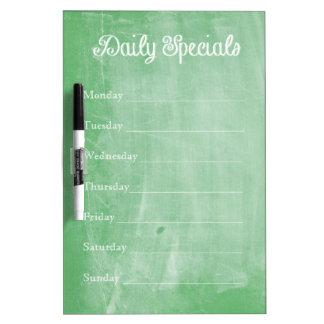 Green Chalkboard Dinner Menu Dry-Erase Board