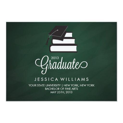 Green Chalkboard Graduation Announcement