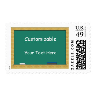 Green Chalkboard Greeting - Customizable Postage Stamp