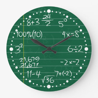Green Chalkboard Lines and Mathematic Equations Large Clock