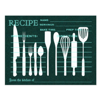 Green Chalkboard Retro Recipe Card Kitchen Tools