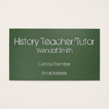 Professional Business Green Chalkboard Teacher Business Card