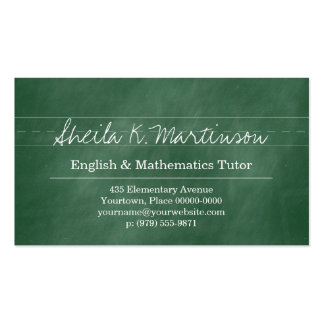 Green Chalkboard Teacher Tutor Double-Sided Standard Business Cards (Pack Of 100)