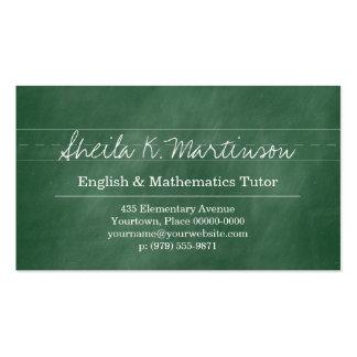 Green Chalkboard Teacher Tutor Business Card